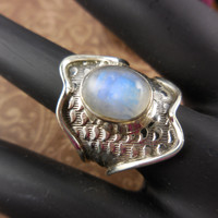 Moonstone Cabochon Sterling Silver Adjustable Ring