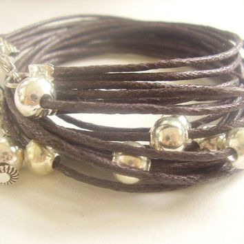 Pearly dark brown and METAL Bracelet