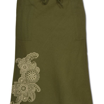 Henna Art Hemp Skirt: Soul Flower Clothing
