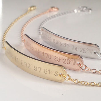 Latitude Longitude Bracelet, Personalized coordinate bracelet, Bridesmaid Gift, Graduation Gift