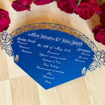 Beauty and the Beast inspired rose wedding program hand fan custom printed laser cut