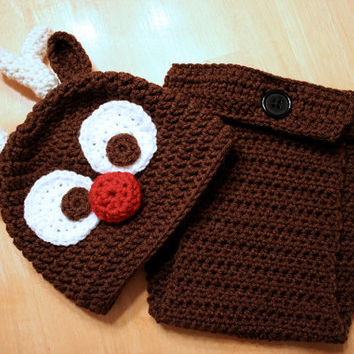 Rudolph Reindeer Outfit for babies and toddlers, Crochet Rudolph Hat and diaper cover, Reindeer Christmas set, Christmas photo prop