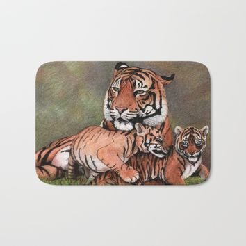 Family of tigers Bath Mat by Savousepate