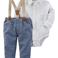 2-Piece Striped Bodysuit and Suspender Pant Set
