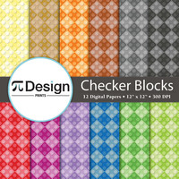 "Checker Building Blocks 12""x12"" Digital Paper 12 Pack 