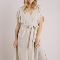 Taylor Oatmeal V-Neck Tie Dress
