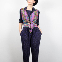 Vintage 1980s Matching Set Purple Black Abstract Print Rainbow Tie Waist Top Harem Pants High Waisted Pants 80s New Wave Outfit XS S Small M