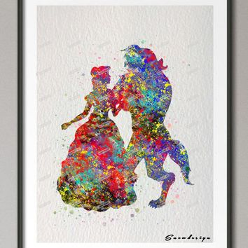 Original watercolor Beauty And The Beast poster print pictures Nursery wall art canvas painting kids room Decor wall sticker