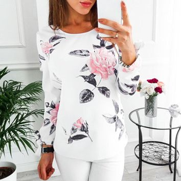 Womens Casual Floral Long Sleeve Sweatshirt Pullover Tops Blouse