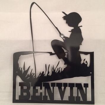 Fishing Boy metal sign, family name, custom cnc, fishing boy