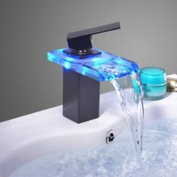 LightInTheBox Oil Rubbed Bronze Color Changing LED Waterfall Bathroom Sink Faucet