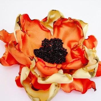 Wedding Hair Flower, Orange and Gold Sunflower accessory, Maternity Sash