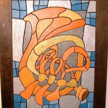 Music Instruments, French Horn, Wood Sculpture, Wall Hanging, Abstract Wall Art