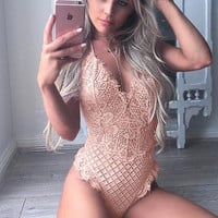 Lace Deep V-Neck Strap One Piece Swimwear Bikini Swimsuit