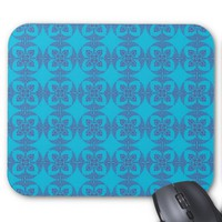 Geometric Floral in Bright Blue Mouse Pad