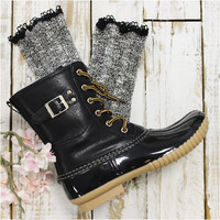 MISS TORI  lace boot socks - charcoal grey
