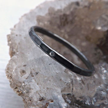 fine silver ring with diamond - black silver ring with diamond - engagement ring - rustic wedding ring - slim silver ring - hammered ring