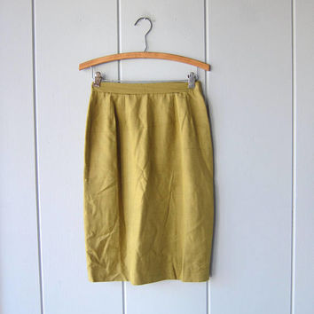 Silk Pencil Skirt Chartreuse Green Minimal Short Mini Skirt Vintage Modern High Waist Skirt Moss Olive Green Womens Small Waist 26""