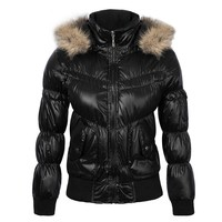 COUTUDI New Style Women Clothing Winter Warm Down Jacket Fur Hoody Solid Cotton Female Jackets Coat Waterproof Bomber Coats