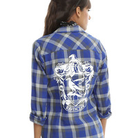 Harry Potter Ravenclaw Plaid Girls Woven Button-Up