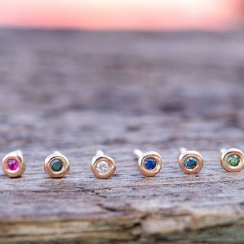 SINGLE Extra Tiny Gold Pebble Earring ONE Ruby stud natural diamonds Solid Rose Gold Earrings 14k solid gold Gemstone sapphire stud single