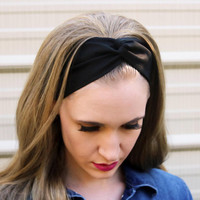Solid Black Madeline Vintage Headband: Retro Solid Headband, Black Faux Head Wrap for Adults, 100% Cotton Fabric