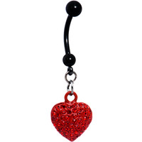 Romantic Ruby Red Gem Heart Belly Ring | Body Candy Body Jewelry