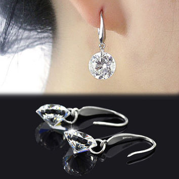Chic Women Silver Plated Ear Hook Chandelier Crystal Dangle Earring