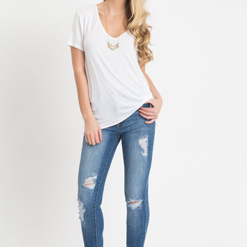 Maddy White Deep V-Neck T-Shirt