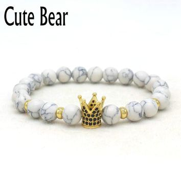 Cute Bear Brand Pave CZ Crown Charm Bracelets Unisex Trendy White Natural Howlite Beads Manual Beaded Bracelet Best Friend Gift