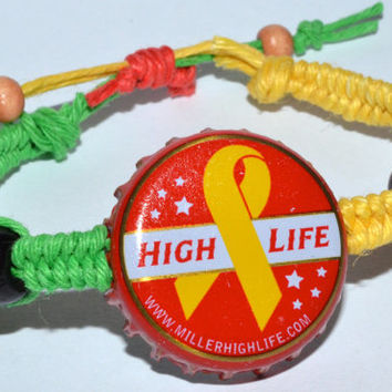 Miller High Life Beer Bottle Hemp Cap Bracelet Green and Yellow Hemp String Rasta Colors
