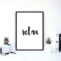 """Typography art""""Relax""""Printable wall art,Home decor,Office decor,wall hanging,Black and white,Yoga style,Modern wall art,Instant download"""