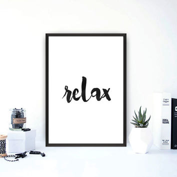 "Typography art""Relax""Printable wall art,Home decor,Office decor,wall hanging,Black and white,Yoga style,Modern wall art,Instant download"
