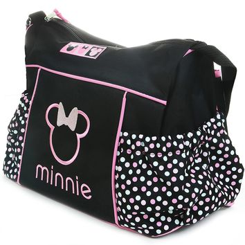 Disney Minnie Mouse Diaper Bag Travel Changing Large Black Pink Baby Tote Dots