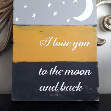 Wood Sign - I love you to the moon and back, rustic sign, wood sign, rustic wall art,Pallet style sign, Childs Sign, Valentines Sign,