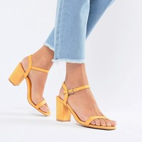 Glamorous Peach Block Heel Sandals at asos.com