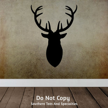Deer Head Buck Rack Antlers Rustic Cabin Nature, Masculine Man Cave - Personalized Word Art Vinyl Wall Decal Sticker Girls Bedroom Dorm Room