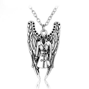 Supernatural Castiel Trench Coat Pendant Necklace Vintage Antique Silver Angel Wings and Trenchcoat Necklace