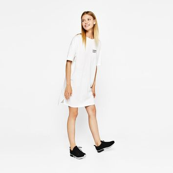 Women Black/White Letters Printed Casual Mini Dress Lace Up Back Loose