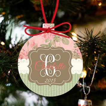 Monogrammed Tea Roses Holiday Ornament
