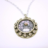 PENDANT Women's Pendant Necklace Purple Pendant With A Circle Of Rhinestones And Topped With A Crystal Handmade Jewelry One Of A Kind