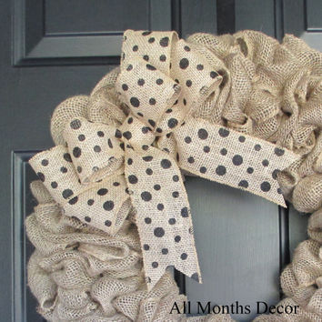 Polka Dot Burlap Bow, Various Color Choices, DIY Wreath Floral Wedding, Spring, Easter, Summer Fall Year Round, DIY Projects, Multipurpose