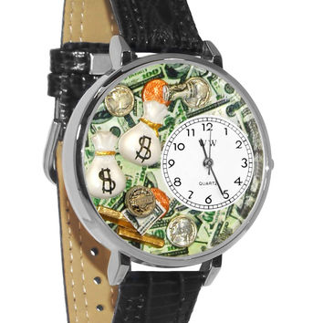 Whimsical Watches Designed Painted Banker Black Leather And Silvertone Watch