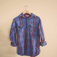 Vintage Plaid Flannel Five Brothers  Blue Red Men's Hipster Distressed Grunge Portland Style Preppy Size Men's Large 15-15.5