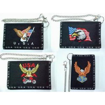 Embroidered Biker Wallet w/ Chain