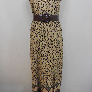 90s, Kathie Lee Collection, Leopard Print and African Print Midi Sleeveless Shift Dress - Zippered, Unlined - Fall - Size S (M)