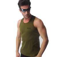 US Army 511 Outdoor SportsTight-Fitting O-Neck Tank Tops High Elastic Men's Cotton Sports Vests Gym Body Building Vests VT-115