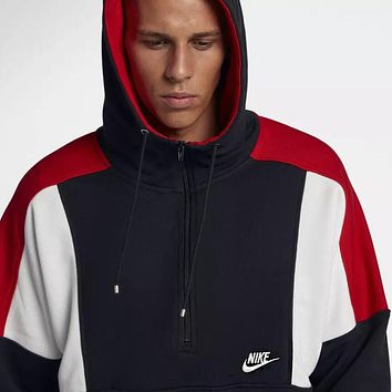 NIKE Fashionable Women Men Casual Stitching Color Half Zipper Hoodie Sweater Top Sweatshirt Black/Navy Black