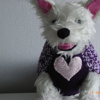Dog sweater hand knit dog sweater, westie, cairn terrier, scottie dog, dog coat, dog clothes, small dog sweaters, valentine dog clothes