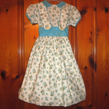 1950s Vintage Girl's Frock / Dress / Blue Flowers / Linen / Rockabilly Skirt / Peter Pan Collar / Size 6 - 7